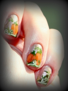 Pumpkin nails, nail art, Thanksgiving nail art