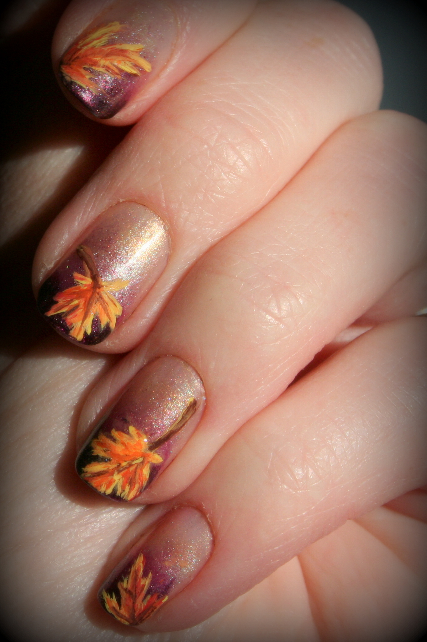 Fall leaves nail art | stuffshalinmakes