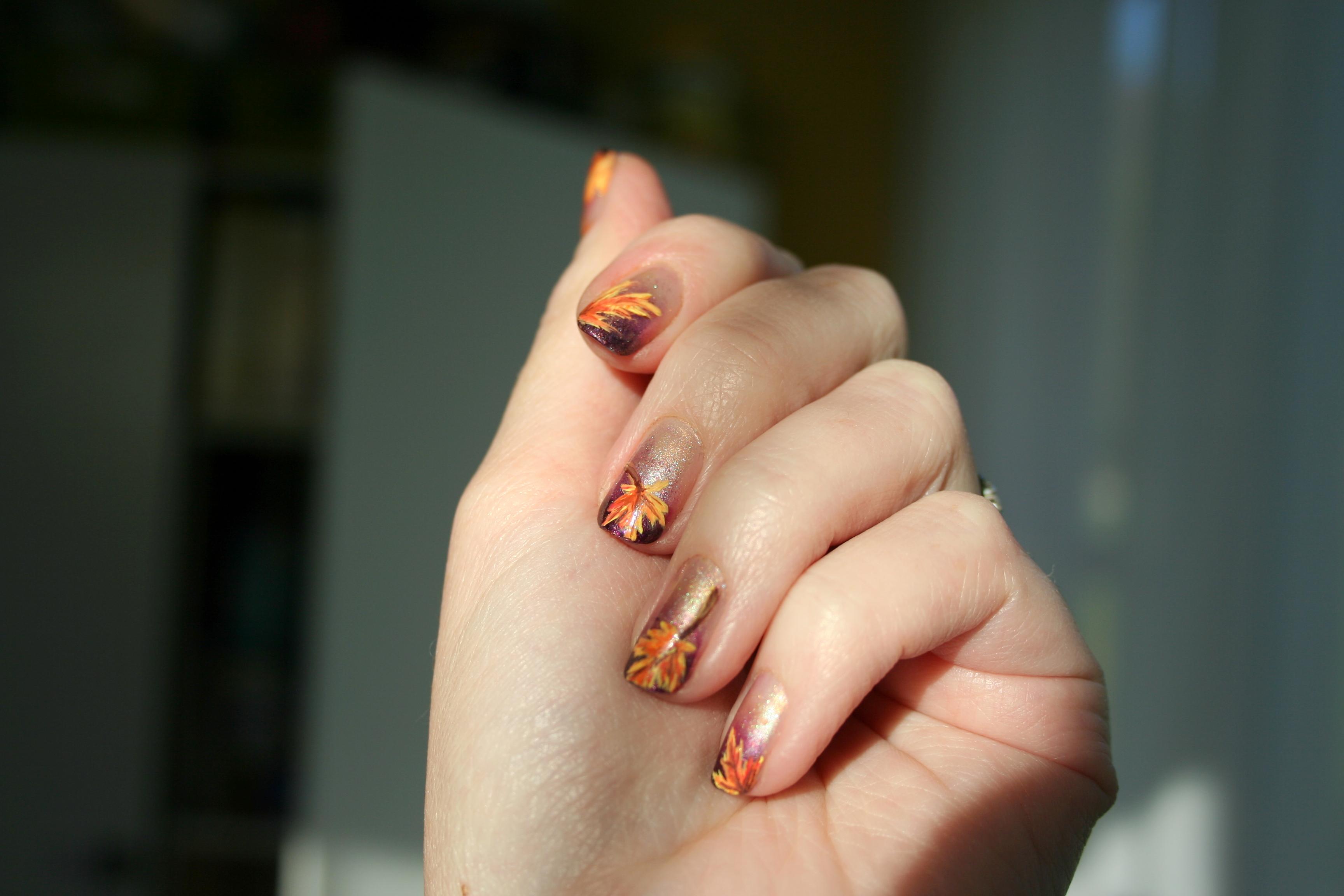 Fall leaves nail art | stuffshalinmakes