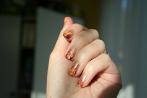 Fall leaves nail art, nail art, Thanksgiving nail art