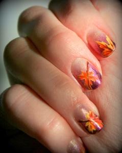 Fall leaves nail art, nail art, Thanksgiving nail art